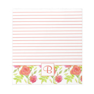 Pink Orange Red Watercolor Roses Monogram Lined Notepad