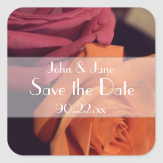"Pink & Orange Roses ""Save the Date"" Square Sticker"