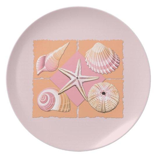 Pink & Orange Shells Melamine Plate