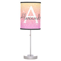 Pink Orange Sparkle Glitter Monogram Name Table Lamp