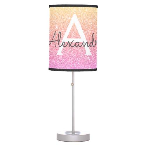 Pink Orange Sparkle Glitter Monogram Name Table Lamp