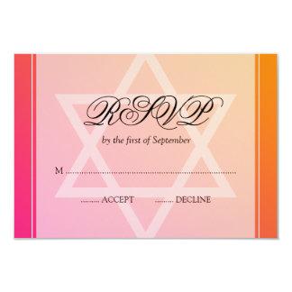 Pink Orange Star of David Bat Mitzvah RSVP Card