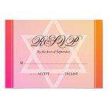 Pink Orange Star of David Bat Mitzvah RSVP Custom Invite