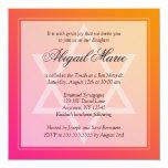 Pink Orange Star of David Bat Mitzvah Square Custom Invitations