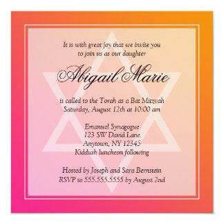 Pink Orange Star of David Bat Mitzvah Square 5.25x5.25 Square Paper Invitation Card