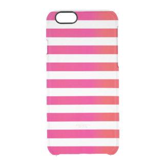 Pink Orange Stripe Clear iPhone 6/6S Case