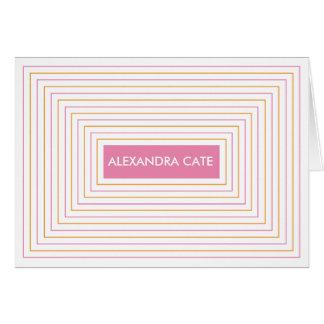 Pink Orange Stripes Notecard Stationery Note Card