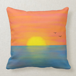 Pink & Orange Sunset (Front and Back) Throw Pillow