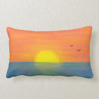 Pink & Orange Sunset w/ Blue Reflective Sea/Ocean Pillow