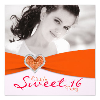 Pink & Orange Sweet Sixteen Photo Birthday Party Custom Invitation