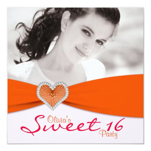Pink & Orange Sweet Sixteen Photo Birthday Party 5.25x5.25 Square Paper Invitation Card