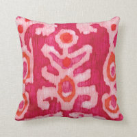 Pink & Orange Tribal Ikat Throw Pillow