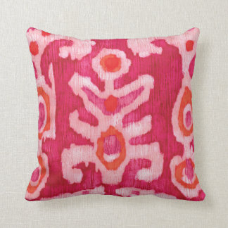 Pink & Orange Tribal Ikat Throw Pillow