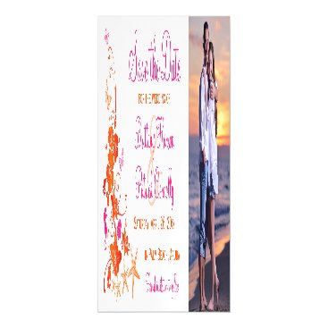 Beach Themed Pink, Orange Tropical Beach Save the Date Magnet