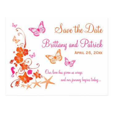 Beach Themed Pink, Orange Tropical Beach Save the Date Postcard