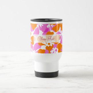 Pink Orange Tropical Floral Design Travel Mug