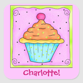 Pink Orange Turquoise Cupcake Name Custom Square Sticker