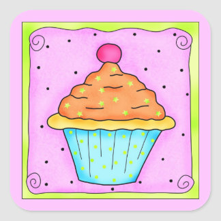 Pink Orange Turquoise Cupcake with Cherry Square Sticker