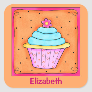 Pink Orange Turquoise Flower Cupcake Name Square Sticker