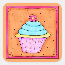 Pink Orange Turquoise with Flower Cupcake Sticker