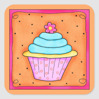 Pink Orange Turquoise with Flower Cupcake Sticker