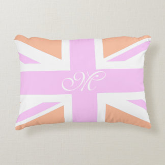 Pink & Orange UK Flag / Union Jack | Monogram Accent Pillow