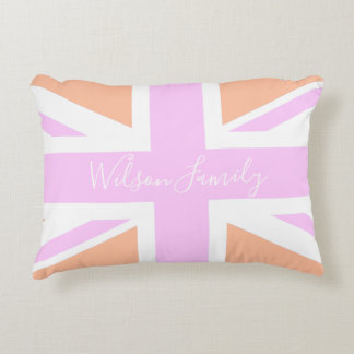 Pink & Orange UK Flag / Union Jack | Personalised Accent Pillow