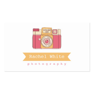 Pink & Orange Vintage Camera Biz Card Double-Sided Standard Business Cards (Pack Of 100)