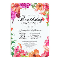 Pink Orange Watercolor Garden Birthday Party Card