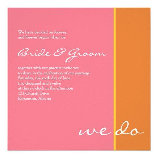 Pink Orange Wedding Invitation
