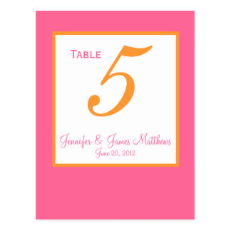 Pink Orange Wedding Table Number Cards