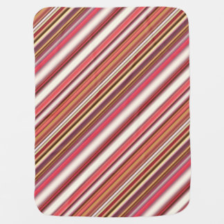 Pink, Orange, White & Burgundy Candy Cane Striped Swaddle Blanket
