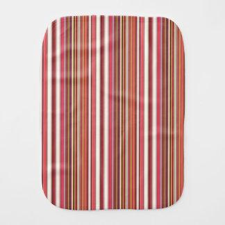Pink, Orange, White & Burgundy Candy Cane Striped Burp Cloths