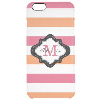 Pink Orange White Stripe Pattern Monogrammed Clear iPhone 6 Plus Case