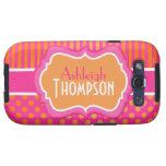 Pink, Orange, White Striped Polka Dots S3 Vibe Galaxy S3 Cases