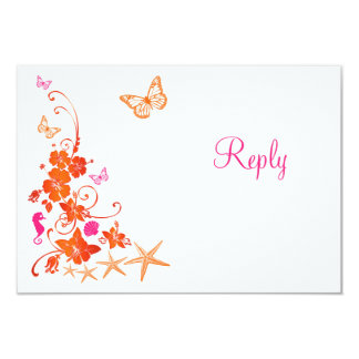 Pink, Orange, White Tropical Beach RSVP Card