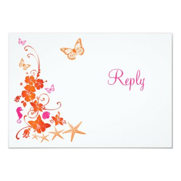 Beach Themed Pink, Orange, White Tropical Beach RSVP Card