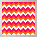 Pink Orange White Zigzag Poster