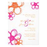 Pink & Orange Wild Flowers 5x7 Wedding Invitation