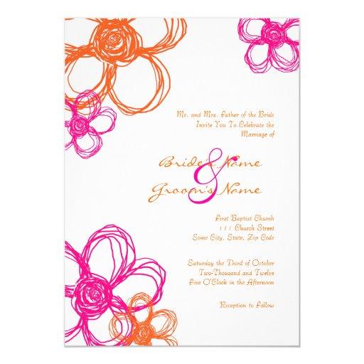 Pink Amp Orange Wild Flowers 5x7 Wedding Invitation