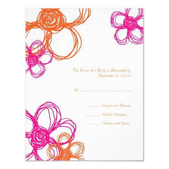 Pink & Orange Wild Flowers Wedding RSVP Card