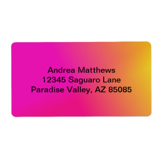Pink Orange Yellow Ombre Label