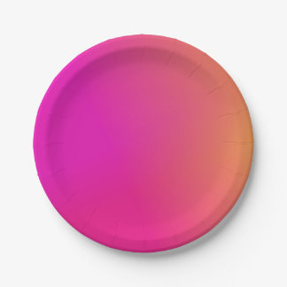 Pink Orange Yellow Ombre Paper Plate
