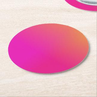 Pink Orange Yellow Ombre Round Paper Coaster