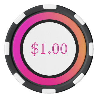 Pink Orange Yellow Ombre Set Of Poker Chips