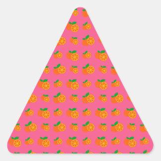 Pink oranges pattern triangle sticker