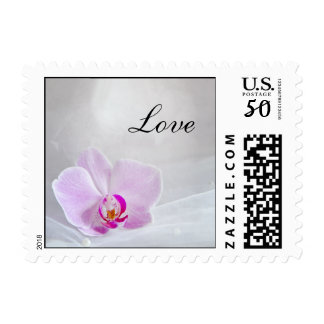 Pink Orchid and Bridal Veil Wedding Love Postage