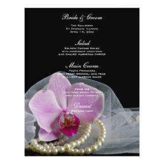 Pink Orchid and Pearls on Black Wedding Menu
