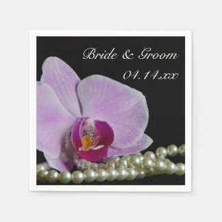 Pink Orchid and Pearls on Black Wedding Napkin