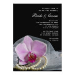 Pink Orchid and Pearls Wedding Invitation